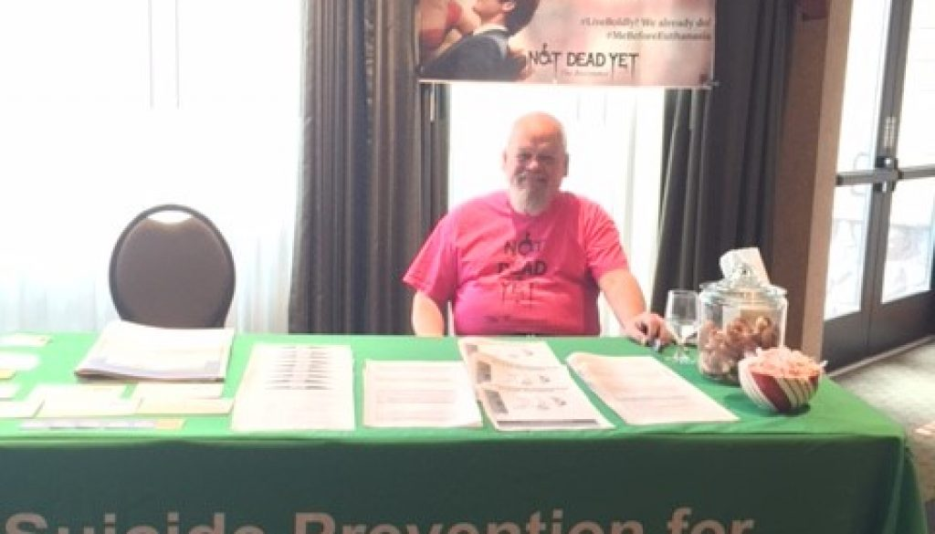 """Suicide Prevention for All"" booth at 2016 Dem & GOP"